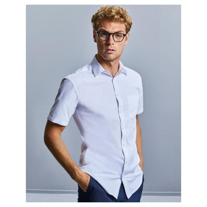 """Chemise """"Russel"""" blanche manches courtes ref : 027.00"""